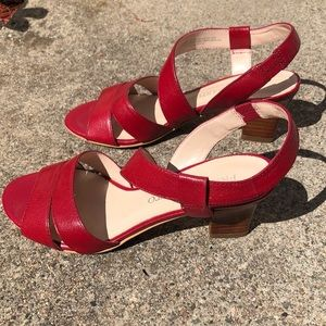 Red strap heels/wedge